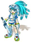 00s 1girl armor blue_eyes blue_hair funbolt gloves goggles hairlocs king_gainer mecha_musume midriff overman_king_gainer solo sword unko_tarou weapon