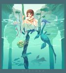 1girl barefoot bikini bottle brown_eyes brown_hair dinosaur fantasy feet fish original short_hair solo swimsuit tougetsu_gou water