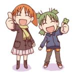 2girls ^_^ azumanga_daioh bangs blush blush_stickers boots child closed_eyes clover coat creator_connection crossover four-leaf_clover full_body green_hair happy jacket koiwai_yotsuba legs_apart lowres mihama_chiyo miniskirt multiple_girls object_namesake open_mouth orange_hair pants quad_tails scarf short_twintails skirt smile standing thumbs_up twintails winter yotsubato!