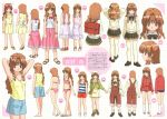 00s 1girl arms_up bikini brown_hair character_sheet hayashiya_shizuru highres long_hair morino_ichigo onegai_teacher red_eyes scan school_uniform serafuku swimsuit thigh-highs turnaround