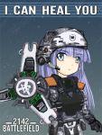 1girl armor battlefield_(series) battlefield_2142 blue_hair camouflage digital_camouflage helmet medic oekaki soldier solo