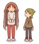 2girls azumanga_daioh child coat coat_on_head coat_over_head creator_connection crossover cuffs emoncake. full_body green_hair handcuffs koiwai_yotsuba looking_at_another lowres mihama_chiyo multiple_girls orange_hair pants quad_tails shoes short_twintails sneakers standing sweater twintails yotsubato!