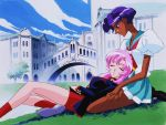 2girls 90s dark_skin glasses green_eyes himemiya_anthy lap lap_pillow legs multiple_girls official_art outdoors pink_hair school_uniform serafuku shoujo_kakumei_utena sleeping tenjou_utena wallpaper