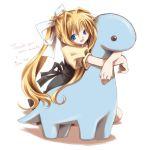 air blonde_hair blue_eyes dinosaur hana_hotaru hotaru_takana hug kamio_misuzu ribbon