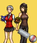 2girls aragaki_shinjirou atlus bad_anatomy genderswap genderswap_(mtf) lowres multiple_girls persona persona_3 poorly_drawn puppet sanada_akihiko shinjiro yellow_background