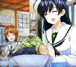 ahoge black_hair blush bowl brown_eyes brown_hair chopsticks closed_eyes commentary food girls_und_panzer glass graphite_(medium) hands_together indoors isuzu_hana long_hair looking_at_another marker_(medium) millipen_(medium) nishizumi_miho noodles open_mouth ramen restaurant rice school_uniform serafuku shiratama_(hockey) surprised sweatdrop traditional_media