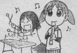 2girls azumanga_daioh band beamed_quavers child instrument kasuga_ayumu lowres mihama_chiyo monochrome multiple_girls music musical_note quaver recorder short_twintails sketch twintails xylophone