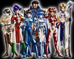 2boys 5girls age_difference akagi_ritsuko armor ayanami_rei beard bikini_armor blue_hair breasts cleavage facial_hair father_and_son glasses ibuki_maya ikari_gendou ikari_shinji katsuragi_misato large_breasts loincloth medium_breasts multiple_boys multiple_girls neon_genesis_evangelion open_clothes open_shirt parody shirt sleeves_rolled_up souryuu_asuka_langley staff thigh-highs under_boob