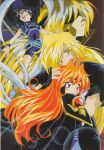 1girl 3boys 90s araizumi_rui armor black_hair blonde_hair blue_eyes blush cape couple faceless flat_chest gourry_gabriev hair_over_one_eye headband hellmaster_phibrizzo hetero highres lens_flare lina_inverse long_hair lord_of_nightmares multiple_boys orange_hair outstretched_arms red_eyes redhead sarong scan slayers slayers_next smile spandex spread_arms surprised very_long_hair wristband
