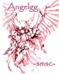 1girl angelg banpresto breasts hisahiko mecha_musume monochrome solo super_robot_wars wings
