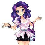 belt blue_eyes bracelet cleavage handbag hasbro my_little_pony_friendship_is_magic purple_hair rarity ring skirt smile tagme