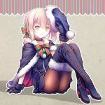 1girl arm_at_side arm_support bangs black_boots black_cape black_dress black_gloves black_hat blonde_hair boots bow bowtie braid brown_legwear cape closed_mouth crossed_ankles dress eyebrows eyebrows_visible_through_hair fate/grand_order fate_(series) frown full_body fur-lined_boots fur-trimmed_cape fur_trim gloves hair_bow hand_up hat high_heel_boots high_heels holding holding_hat knees_up looking_at_viewer pantyhose plastic_moon pom_pom_(clothes) saber saber_alter sack santa_alter santa_costume santa_hat short_dress sidelocks sitting solo striped striped_bow striped_bowtie thigh-highs thigh_boots vertical_stripes wrist_cuffs yellow_eyes
