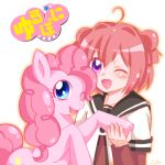 2girls ahoge akaza_akari bangs blue_eyes blush charmyamber commentary_request copyright_name crossover double_bun hand_holding multiple_girls my_little_pony my_little_pony_friendship_is_magic one_eye_closed open_mouth pink_hair pinkie_pie pony redhead sailor_collar sidelocks simple_background violet_eyes white_background yuru_yuri