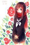blush brown_eyes brown_hair kagerou_project long_hair scarf seifuku tateyama_ayano
