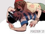 1boy 1girl assertive baseball_cap black_hair blue_eyes blush brown_eyes brown_hair copyright_name eye_contact female_protagonist_(pokemon_sm) glasses_enthusiast green_shorts grey_background half-closed_eyes hat looking_at_another lying male_protagonist_(pokemon_sm) on_back open_mouth pokemon pokemon_(game) pokemon_sm shirt short_shorts shorts simple_background striped striped_shirt sweatdrop z-ring