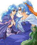 1boy 1girl 90s alfador blue_hair cat chrono_(series) chrono_trigger dress green_eyes janus janus_zeal jewelry necklace pendant schala schala_zeal synn