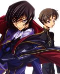 2boys absurdres cape code_geass highres lelouch_lamperouge male_focus multiple_boys rolo_lamperouge
