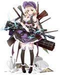 1girl arm_garter artist_request beatrice_(royal_flash_heroes) black_legwear blonde_hair bonnet book braid breasts broken_cup cleavage dress french_braid frills full_body garter_straps gun headdress highres holding holding_book mary_janes open_mouth rocket_launcher royal_flash_heroes shoes short_hair skirt smile solo thigh-highs too_many transparent_background weapon yellow_eyes