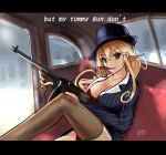 1girl blonde_hair blue_eyes bra breasts brown_legwear car car_interior cigar cleavage commentary_request english formal ground_vehicle gun haruto_(harut_n) hat iowa_(kantai_collection) kantai_collection logo looking_at_viewer motor_vehicle mouth_hold panties red_bra red_panties sitting skirt_suit solo striped_suit stupid_movie_sequels submachine_gun suit thigh-highs thompson_submachine_gun underwear weapon