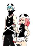 >:3 1boy 1girl :3 alternate_costume bandana_over_mouth bandanna bare_shoulders blue_hair commentary_request cosplay gyosone hand_on_hip height_difference holding holding_poke_ball inumuta_houka jakuzure_nonon jewelry kill_la_kill necklace no_glasses pink_eyes pink_hair poke_ball pokemon pokemon_(game) pokemon_sm short_hair short_shorts shorts team_skull team_skull_(cosplay) team_skull_grunt thigh_strap torn_clothes wristband