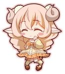 1girl absurdres animal_ears blonde_hair blush_stickers chibi closed_eyes eyebrows eyebrows_visible_through_hair full_body highres horns kehp_(monster_musume) kumehara_chiyota long_hair monster_girl monster_musume_no_iru_nichijou monster_musume_no_iru_nichijou_online sheep_ears sheep_girl sheep_horns simple_background smile solo white_background wool