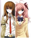 2girls :i ahoge armband beige_jacket beige_shirt belt bow bowtie brown_hair chaos;head checkered_bowtie company_connection expressionless eyebrows eyebrows_visible_through_hair hair_bow hair_intakes hair_over_breasts highres jacket long_hair looking_at_viewer makise_kurisu multiple_girls necktie official_art one_eye_covered open_clothes open_jacket parted_lips phantom_breaker pink_eyes pink_hair purple_bow purple_bowtie red_bow red_necktie sakihata_rimi scan scan_artifacts school_uniform shirt sidelocks star star_print steins;gate suzuhira_hiro upper_body violet_eyes white_background white_shirt
