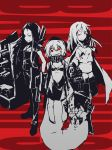3girls absurdres bikini_bottom boots commentary_request female full_body height_difference highres hime_takeo hood hoodie kantai_collection long_hair looking_at_viewer monochrome multiple_girls navel o-ring_top re-class_battleship red_eyes ru-class_battleship sailor_collar scarf sharp_teeth shinkaisei-kan short_eyebrows short_hair spot_color ta-class_battleship tail teeth thigh-highs thigh_boots