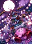 2016 bow chilly_(kirby) christmas_tree dutch_angle kirby kirby_(series) night night_sky nova open_mouth red_bow sitting sky waddle_dee yukkyon_kyon