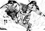 1boy 1girl autobot crossover grimlock headgear highres kamizono_(spookyhouse) kantai_collection machine machinery mecha monochrome robot school_uniform skirt tenryuu_(kantai_collection) transformers translation_request uniform weapon