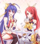 2girls :d antenna_hair armor armored_dress backless_outfit bangs bare_shoulders black_legwear black_pants blazblue blazblue:_central_fiction blue_hair blush boots bow breasts cafe cake chair checkered checkered_background cup detached_sleeves fingerless_gloves flower food fruit fruit_background genderswap genderswap_(mtf) gloves hair_between_eyes hair_bow hair_tubes halter_top halterneck heart highres holding holding_cup izayoi_(blazblue) large_breasts long_hair looking_at_viewer lowleg lowleg_pants mai_natsume midriff miniskirt multiple_girls navel no_bra no_panties open_mouth outseal pants pantyhose pastry plate polearm ponytail red_eyes red_gloves redhead revealing_clothes ribbon sideboob sidelocks sitting skirt smile solo spear speech_bubble spoken_heart spoon standing strawberry strawberry_shortcake sunimu sword table tea teacup thigh-highs thigh_boots thighs tsubaki_yayoi vase very_long_hair violet_eyes weapon white_boots white_legwear white_skirt yellow_bow