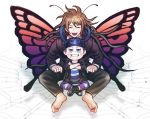 2boys antennae barefoot blazer blue_eyes boots brown_hair butterfly_wings closed_eyes crossed_arms danganronpa glasses gokuhara_gonta grin horned_headwear hoshi_ryouma indian_style jacket long_hair male_focus multiple_boys new_danganronpa_v3 pants rokuichi_(bluelamp61) school_uniform short_hair signature silk simple_background sitting smile spider_web striped striped_pants white_background wings