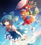3girls :d ^_^ arm_behind_head ascot baocaizi beret black_shoes blonde_hair blue_bow blue_dress blue_eyes blue_hair blue_sky bow bowtie cirno closed_eyes crystal day dress flandre_scarlet flying frilled_shirt_collar frilled_skirt frills green_hat green_skirt green_vest hair_between_eyes hair_bow hat hat_bow highres hong_meiling ice ice_wings long_hair looking_at_viewer mary_janes multiple_girls night ocean open_mouth orange_hair outstretched_arms parasol puffy_short_sleeves puffy_sleeves red_bow red_bowtie red_eyes red_shoes red_skirt red_vest running shirt shoes short_sleeves side_ponytail side_slit skirt sky smile snowflakes spread_arms star_(sky) starry_sky touhou umbrella vest white_hat white_shirt wing_collar wings yellow_bow yellow_bowtie