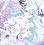1girl blue_hair breasts doraf dress female granblue_fantasy hair_ornament horns izmir kz_nagomiya large_breasts long_hair looking_at_viewer open_mouth orange_eyes pale_skin pointy_ears smile solo under_boob very_long_hair white_dress