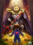 1boy androgynous armor asgore_dreemurr back backlighting beard blue_shorts blue_sweater broken brown_hair cape closed_mouth crack crown dated door facial_hair frisk_(undertale) garden glowing heart heart_necklace highres holding holding_weapon horns jewelry k_ptn knife legs_apart light_particles long_sleeves looking_at_another necklace_removed pendant pillar polearm sad short_hair shorts signature size_difference standing striped striped_sweater sweater undertale weapon yellow_flower