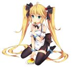 1girl alternate_costume andrea_doria_(zhan_jian_shao_nyu) anklet apron bare_shoulders black_legwear blonde_hair blue_eyes bow bracelet cheesecake corset detached_sleeves dice dice_hair_ornament eating enmaided food food_on_face fork frills hair_bow hair_ornament highres jewelry kkkkkey long_hair looking_at_viewer maid miniskirt short_sleeves sitting skirt solo thigh-highs twintails very_long_hair wariza white_background zettai_ryouiki zhan_jian_shao_nyu