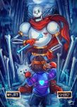 >:d :d androgynous animal annoying_dog back black_eyes blue_shorts blue_sweater bone boots boxing_gloves brown_hair clouds dated dog fighting_stance forest frisk_(undertale) gloves glowing hand_on_hip headband heart highres holding holding_weapon k_ptn legs_apart long_sleeves looking_at_another moon mouth_hold nature night night_sky open_mouth outdoors papyrus_(undertale) pine_tree planted_bone red_boots red_gloves red_scarf scarf short_hair shorts signature size_difference skeleton sky smile standing striped striped_sweater sweater tree undertale weapon