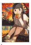 1girl autumn autumn_leaves backpack bag bangs bare_legs black_eyes black_hair blunt_bangs cross-laced_footwear food fruit hair_ribbon highres holding holding_fruit lake legs_together long_hair long_sleeves looking_at_viewer miniskirt nature on_ground original outdoors page_number pantyhose ribbed_legwear ribbed_sweater ribbon scan shoes sitting skirt smile sneakers socks solo sweater takamichi tree turtleneck white_border