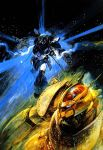 80s antennae armor battle blue_comet_spt_layzner canopy cockpit energy gun helmet highres layzner mecha official_art oldschool pilot pilot_suit promotional_art realistic scan science_fiction space spacesuit spoilers star_(sky) takani_yoshiyuki traditional_media weapon zakaal zero_gravity