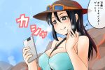 1girl between_breasts black_hair breasts brown_eyes cellphone character_request commentary_request eyebrows hair_between_eyes hat jewelry large_breasts long_hair mature nishi_koutarou phone pokemon pokemon_(game) pokemon_sm ring sightseer_(pokemon) smartphone solo thought_bubble upper_body