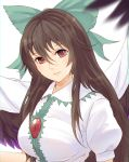 1girl bow breasts brown_hair cape expressionless green_bow hair_bow head_tilt highres lips long_hair looking_at_viewer puffy_sleeves red_eyes reiuji_utsuho solo touhou white_background wings x&x&x