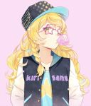 1girl arms_at_sides bangs blush braid casual character_name clothes_writing collarbone ekira_nieto eyelashes flat_chest gum hair_tie hat jacket kirisame_marisa letterman_jacket long_hair looking_at_viewer one_eye_closed open_clothes open_jacket pink-framed_eyewear pink_background shirt side_braid simple_background single_braid solo star star-shaped_glasses star_print swept_bangs t-shirt touhou upper_body