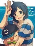 1boy :d aoya_(ayoyame18) artist_name baseball_cap bird black_hair blue_eyes blush closed_eyes copyright_name cowlick hat hat_removed headwear_removed leaf male_protagonist_(pokemon_sm) open_mouth outline owl pokemon pokemon_(creature) pokemon_(game) pokemon_sm rowlet salute shirt signature smile striped striped_shirt t-shirt upper_body white_outline
