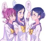 3girls aida_mana alternate_hair_color blue_eyes blue_hair blush dokidoki!_precure hishikawa_rikka kenzaki_makoto long_hair multiple_girls negom open_mouth pink_eyes pink_hair precure school_uniform short_hair simple_background smile speech_bubble translated violet_eyes white_background