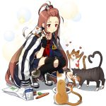 1girl animal animal_on_shoulder artist_request bandage bangs_pinned_back black_gloves black_legwear brown_hair cat cat_food character_request choker feeding fingerless_gloves food gloves heart holding jacket_over_shoulder long_hair neckerchief official_art over-kneehighs pleated_skirt red_eyes school_uniform shoes skirt smile sneakers solo squatting thigh-highs transparent_background