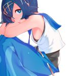 1girl bangs bare_arms blouse blue_eyes blue_hair blue_pants breasts crop_top crop_top_overhang eyelashes from_side hair_ornament head_rest knees_up looking_at_viewer pants parted_lips pokemon pokemon_(game) pokemon_sm ryokucha_(i_cobalt) sailor_collar short_hair sideboob simple_background sitting sleeveless small_breasts solo suiren_(pokemon) undershirt white_background white_blouse