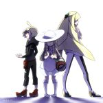 1boy 2016 2girls bag black_jacket blonde_hair brother_and_sister dated dress earrings family gem gladio_(pokemon) green_eyes hair_ornament handbag hat hood hood_down hooded_jacket jacket jewelry kou_osmtaka leggings lillie_(pokemon) long_hair long_sleeves lusamine_(pokemon) mother_and_daughter mother_and_son multiple_girls open_mouth pigeon-toed pokemon pokemon_(game) pokemon_sm sandals shoes short_dress short_hair siblings sleeveless sleeveless_dress sun_hat sweat very_long_hair white_hat white_shoes