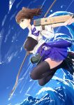 1girl bow_(weapon) brown_eyes brown_hair flight_deck hakama_skirt highres inu3 japanese_clothes kaga_(kantai_collection) kantai_collection long_hair muneate quiver side_ponytail smile solo tasuki thigh-highs weapon