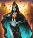 1girl blue_skin breasts cape eternal_legend front_ponytail highres hood leg_tattoo lipstick long_hair magic makeup midna midna_(true) navel navel_cutout orange_hair purple_lipstick red_eyes solo spoilers sunset tattoo the_legend_of_zelda the_legend_of_zelda:_twilight_princess watermark web_address