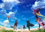absurdres ahoge armpits beach bienfu_(tales) black_hair blonde_hair blue_sky boat book boots clouds coat detached_sleeves dress eizen_(tales) eleanor_hume everyone gloves hat highres japanese_clothes laphicet_(tales) long_hair low_ponytail magilou_(tales) mismatched_legwear mosako ocean pink_hair rokurou_rangetsu sailor_collar ship sky sword tales_of_(series) tales_of_berseria thigh-highs thigh_boots top_hat twintails velvet_crowe very_long_hair water watercraft weapon witch_hat