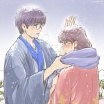 1boy 1girl 3mm bag black_hair breath extra gintama glasses handbag hanten_(clothes) japanese_clothes looking_at_another looking_down lowres purple_hair scarf shimura_shinpachi smile snow twitter_username winter_clothes
